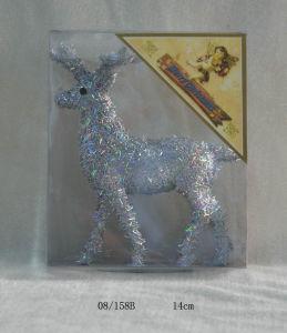 Silvery Foam Tinsel Deco. Christmas Deer Hanging Ornament