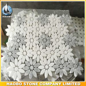 Beautiful Flower Design White Gray Marble Mosaic Tiles pictures & photos
