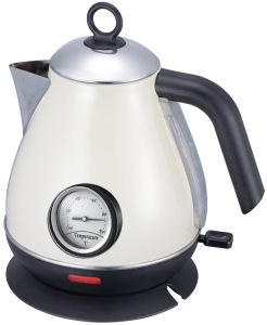 Cream Color Stainless Steel Cordless Jug Electric Kettle with Thermometer pictures & photos