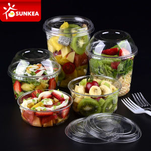 Clear Fruit Salad Pet Plastic Cup with a Lockable Lid pictures & photos