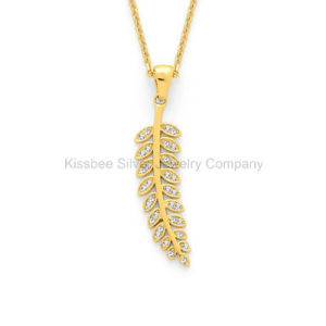 Fashion Sterling Silver Jewellery 18 K Gold Plated Leaf Pendant (KP3032) pictures & photos