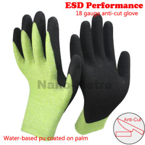 Nmsafety 18g Nitrile Coated ESD Antistatic Cut Resistant Work Glove