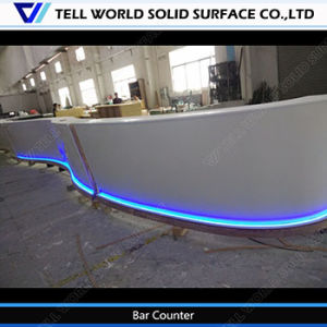 Tw-Stbc-0018 White Corian Commercial Service Counter Curved Design Restaurant Service Countertop LED Service Counter for Sale pictures & photos