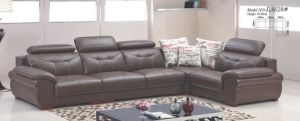Fashion Leisure Brown Leather Sofa Furniture Adjustable Headrest pictures & photos