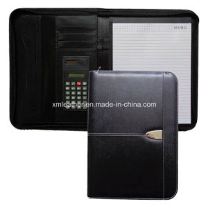 Office Black Leather Junior Padfolio with Pockets pictures & photos