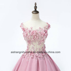 Flower Luxury Applique Beaded Diamond Satin Wedding Dress pictures & photos