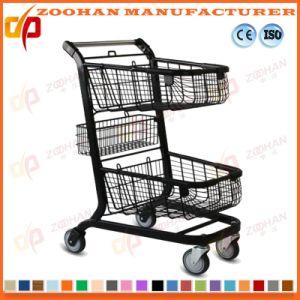 Double Basket Metal Supermarket Handling Metal Shopping Cart Trolley (Zht195) pictures & photos