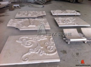 Portugal Beige Marble Wall Cladding Panel with Flower Carving pictures & photos