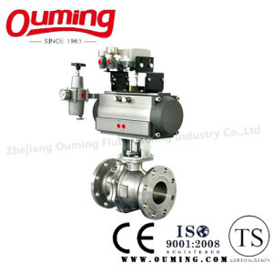 2PC Stainless Steel Flanged Ball Valve with Pneumatic Actuator pictures & photos