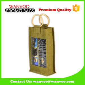 Promotional Jute Tote Wine Bottle Bag-Double pictures & photos