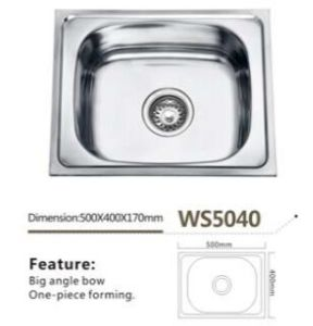 Single Bowl Kitchen Sink Ws5040 Stainless Steel Kitchenware