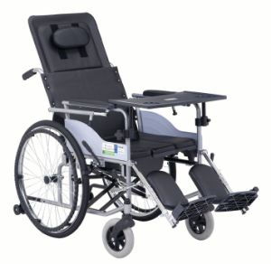 Hight Backrest Black PVC Commode Steel Wheelchair
