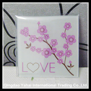 4mm Clear Tempered Glass Coaster with Decal Pattern pictures & photos