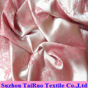 Polyester Embossed Satin with Hot Stamp for Bedsheet pictures & photos