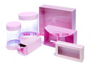 Cardboard Round Cosmetic Paper Box with Plastic PVC Lid