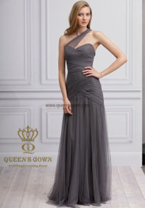 Bodice One-Shoulder Chiffon Bridesmaid Dress with Ruffle pictures & photos