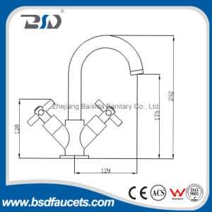Cross Dual Handle Popular Design Brass Basin Faucet Cheap Price pictures & photos