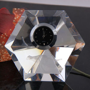 Customized Crystal Glass Clock with Logo pictures & photos