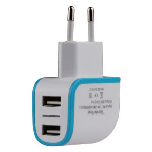 2USB with LED European Standard Mobile Phone Charger pictures & photos