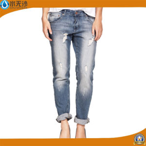 Wholesale Wash Ripped Fashion Long Jeans for Women