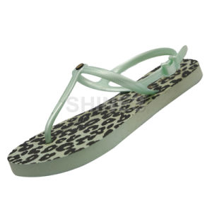 Mint Leopards Lady′s Thong Slipper