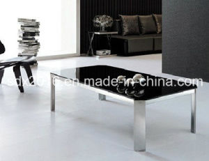 Modern Black Tempered Glass Rectangle Stainless Steel Coffee Table pictures & photos