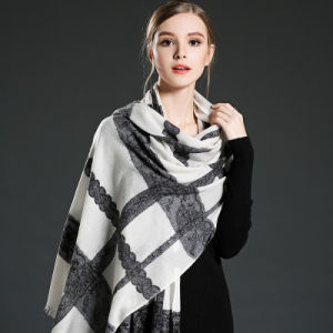 Women Lace Stitching Wool Scarf Shawl