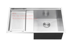 Drain Board Handmade Sink, Stainless Steel Top Mount Single Bowl Handmade Kitchen Sink with Drain Board pictures & photos