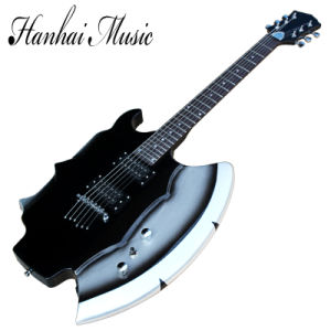 Hanhai Music / Black Axe Shape Electric Guitar with 24 Frets pictures & photos