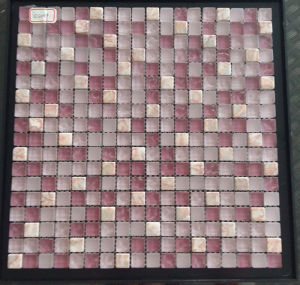 New Design Square Pink Color Glass Stone Mosaic Tile pictures & photos