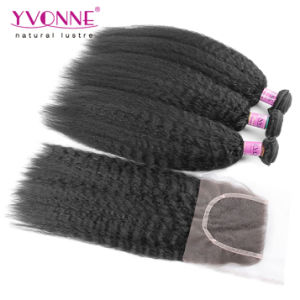Brazilian Kinky Straight Hair Bundles with Lace Closure pictures & photos