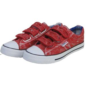 Newest Design School Breathable Red Hook & Loop Sneakers Canvas Vulcanized Shoes pictures & photos