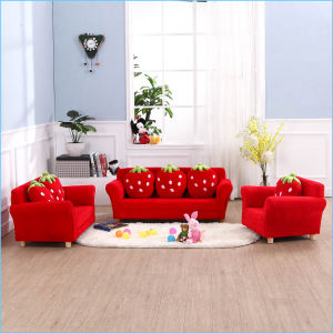 Two Seat Strawberry Kids Fabric Sofa/Children Furniture (SXBB-281-3) pictures & photos