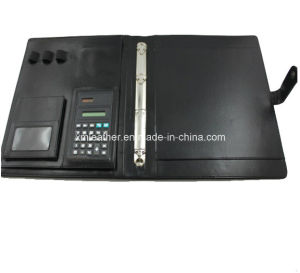 Black A4 Leather Binders with Calculator pictures & photos