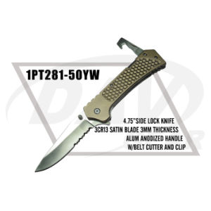"4.75""Closed Alum Handle Liner Lock Knife with Satin Blade (1PT281-50YW) pictures & photos"