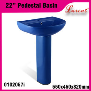 Pottery Colourfull Coffee Shop Solid Surface Hand Wash Pedestal Basin pictures & photos