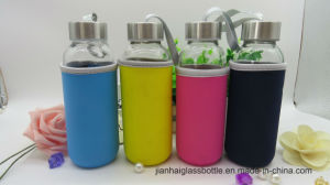 Travel Mug Hand Portable Glass Water Bottle with Cloth Cover pictures & photos