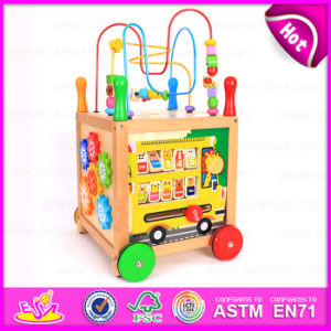2015 Big Round Bead Multifunctional Trailer Toy, Interesting Wooden Baby Walker Toy, Wooden Walker Toy with Alphabet Rack W16e041 pictures & photos