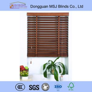 Ladder String Cord Control Metal Headrail Basswood Venetian Blinds pictures & photos