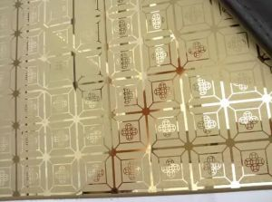 201/304 Gold Color Bright Etched Stainless Steel Sheet with Pattern