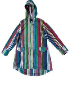Contrast Stripe Hooded PVC Raincoat for Woman pictures & photos
