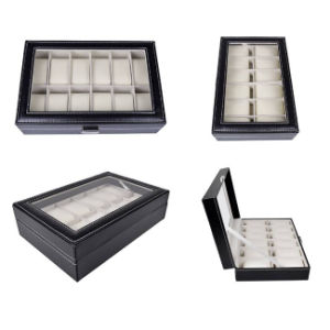 Black Leather 12 Grid Jewelry Watch Case (HX-A0756) pictures & photos