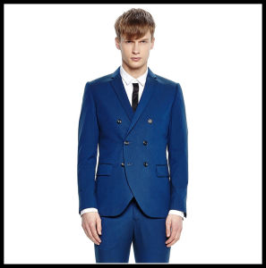 New Design Made to Measure Slim Fit Double Breasted Fashion Men Blue Suit pictures & photos
