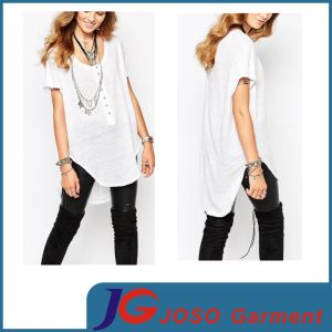 Long Blouse Style Grey Oversize Tee West Top (JS9023) pictures & photos