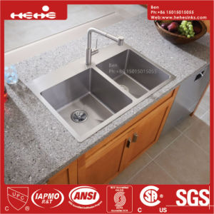 32X19 Inch Stainless Steel Top Mount Equal Double Bowl Handmade Kitchen Sink with Cupc Certification pictures & photos