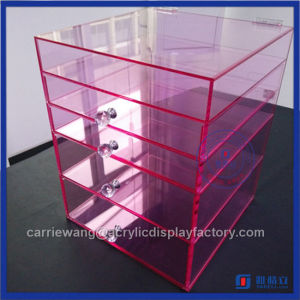 2016 Fashionable Pink Acrylic Makeup Organizer with 5 Drawers Supplier with Crystal Knobs pictures & photos