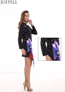 European and American Women′s Summer DOT Print Irregular Sexy Hollow Package Hip Skirt Long-Sleeved Jumpsuit Dress pictures & photos