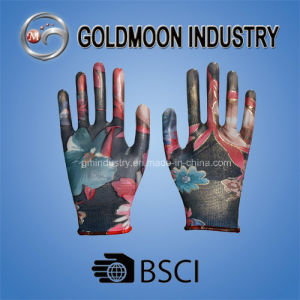 Colorful Imprint Black Nitrile Safety Work Glove pictures & photos