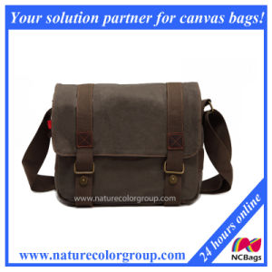 Retro Messenger Shoulder Bag High Density Canvas Top Quality Genuine Leather (MSB-025) pictures & photos