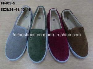 Cheap Fashion Lady Casual Shoes Injection Corduroy Canvas Shoes (FF409-5) pictures & photos